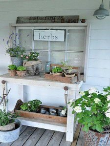 Cute back to a potting table