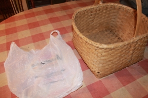Basket and bag for walk through